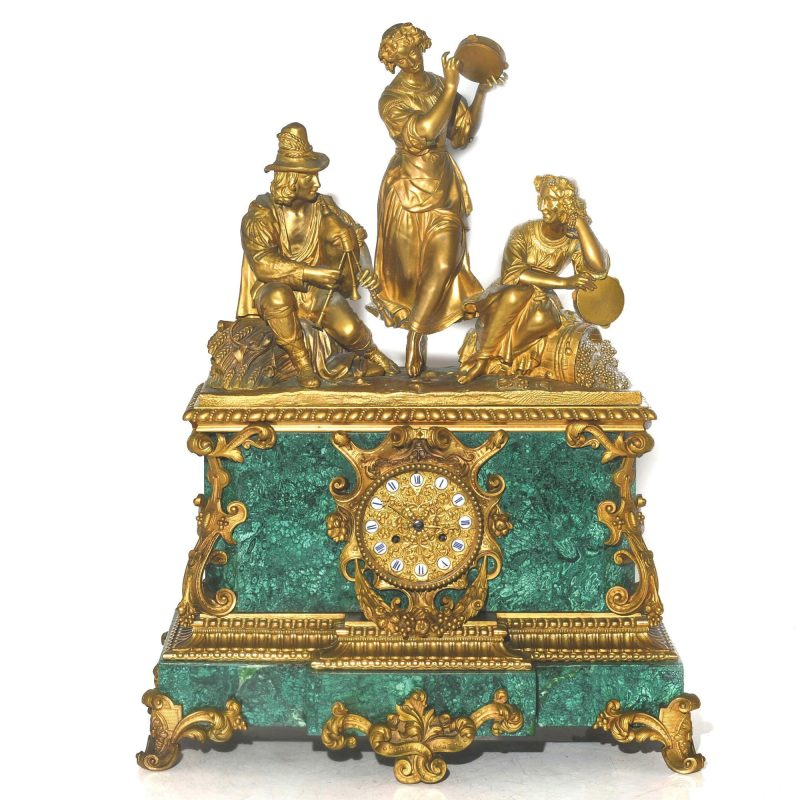 Ormolu Malachite Louis XVI style mantel clock