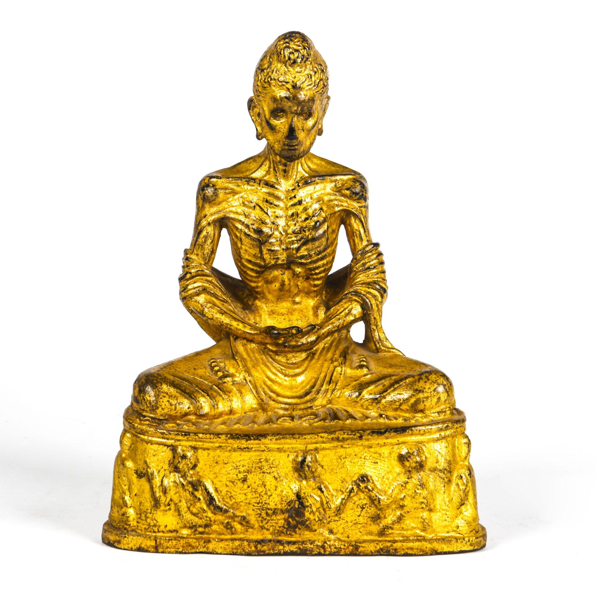 THAI LACQUER GILT GANDHARAN STYLE EMACIATED BUDDHA